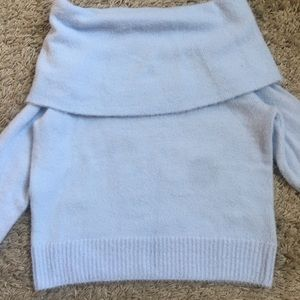 H&M baby blue over the shoulder cropped sweater